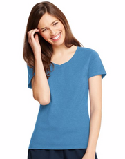 Relaxed V-Neck Blue Heather