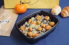 Couscous di verdure con polpette di pesce [Allergeni: couscous, sedano, misto di pesce, crostacei, molluschi]