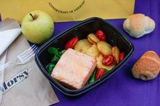 Salmone al forno, pomodori confit e patate con mayo [Allergeni: salmone; nella mayo: uova, senape]