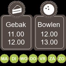 11.00 koffie met gebak 12.00 - 13.00 bowlen