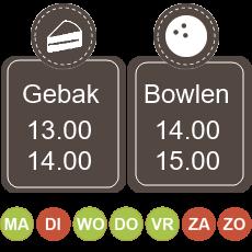 13.00 koffie met gebak 14.00 - 15.00 bowlen