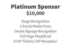 Platinum Sponsor for $10,000
