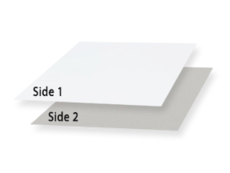 1 Side Coated Paperboard Shiny White 1 Side/ Grey 2nd Side