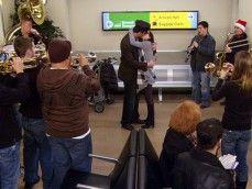 Banda no aeroporto