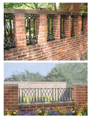 Option 1: Brick Privacy Wall with Ornamental Metal Lattice