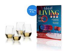JAHRESABO Living + 1 Set Riedel O-Wine Tumbler (4 Gläser) um € 25