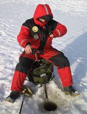 Fiskar genom hål i isen