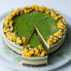 Mango Matcha Cheesecake by Ginger Vegan