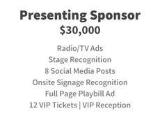Presenting Sponsor for $30,000