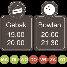 19.00 koffie met gebak 20.00 - 21.30 bowlen