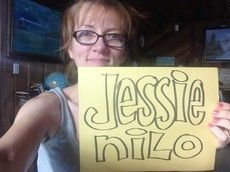 Jessie is happy about her name-doodle.
