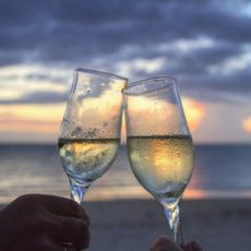 Romantic sunset drinks