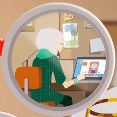Gran at the computer