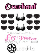 12 knickers and 2 bras for £15 per month including postage