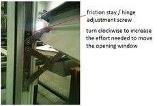 Adjusting a friction stay window