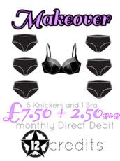 6 knickers and 1 bra for £10 per month including postage