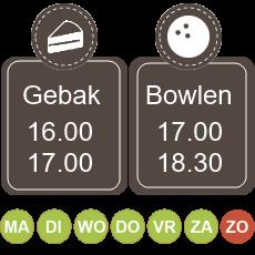 16.00 koffie met gebak 17.00 - 18.30 bowlen