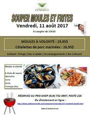 Vendredi 11 août - Moules (19.95$) et Côtelettes de porc marinées (16.95$)