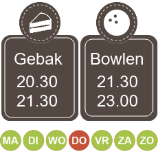 20.30 koffie met gebak 21.30 - 23.00 bowlen