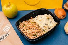 Cavolfiore gratinato con mix di cereali e verdure al salto [Allergeni: latte, burro, farina di grano tenero, sedano. Può contenere: orzo, grano, farro, avena, miglio, sorgo]