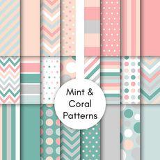 Mint & Coral Patterns