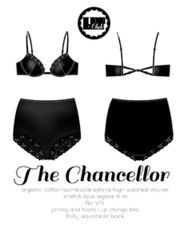 Underwired foam cup plunge bra, highwaisted knicker