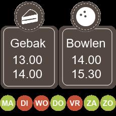 13.00 koffie met gebak 14.00 - 15.30 bowlen